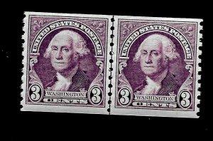 US 1932 SC# 721 3 c Washington Coil Pair MINT NH  - Crisp Image