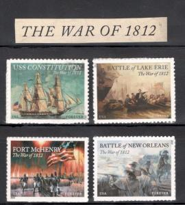 4703-4805-4921-4952 War of 1812 Complete Set Of 4 Mint/nh FREE SHIPPING