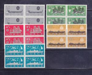 Norway 382-386 Blocks Of 4 Set MNH Ships (D)