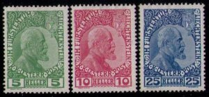 MLH LIECHTENSTEIN Sc 1-3 (1912) Very Fine Set