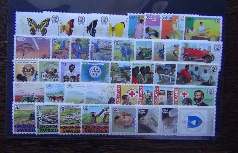 Swaziland 1981 - 1986 sets Butterflies Red Cross Sugar Cars Rotary Comet MNH
