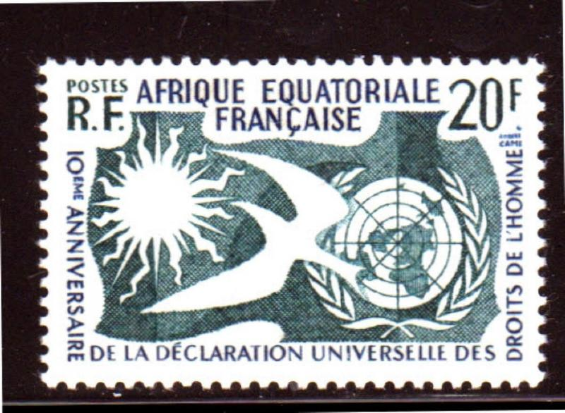 FRENCH EQUATORIAL AFRICA #202  1958  HUMAN RIGHTS    MINT  VF NH  O.G