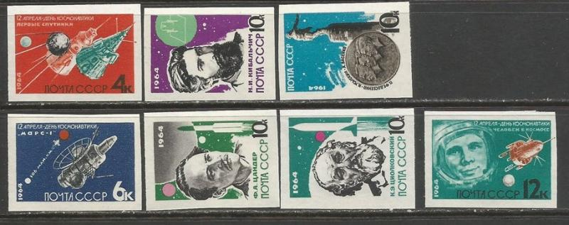 Russia 2883-89 MNH IMPERF. SPACE R7-185