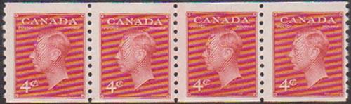 Canada USC #300i 4c Carmine Coil Jump Strip of Four - Cat. $110. VF-NH