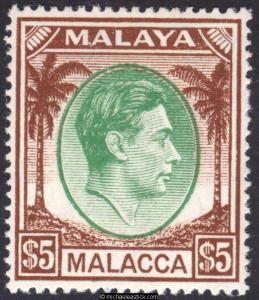 1944 Malaya Malacca $5 Green & Brown, SG 17, MH