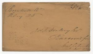 VA US STAMPLESS COVER Brentsville (Pop 151) DPO #4 Feb 25, 1840's