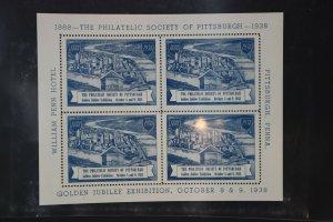 Philatelic Society Pittsburgh PA 1938 Golden Jubilee expo Souvenir stamp sheet