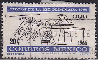 Mexico 974 Hinged Used 1966 Olympics Running & Jumping