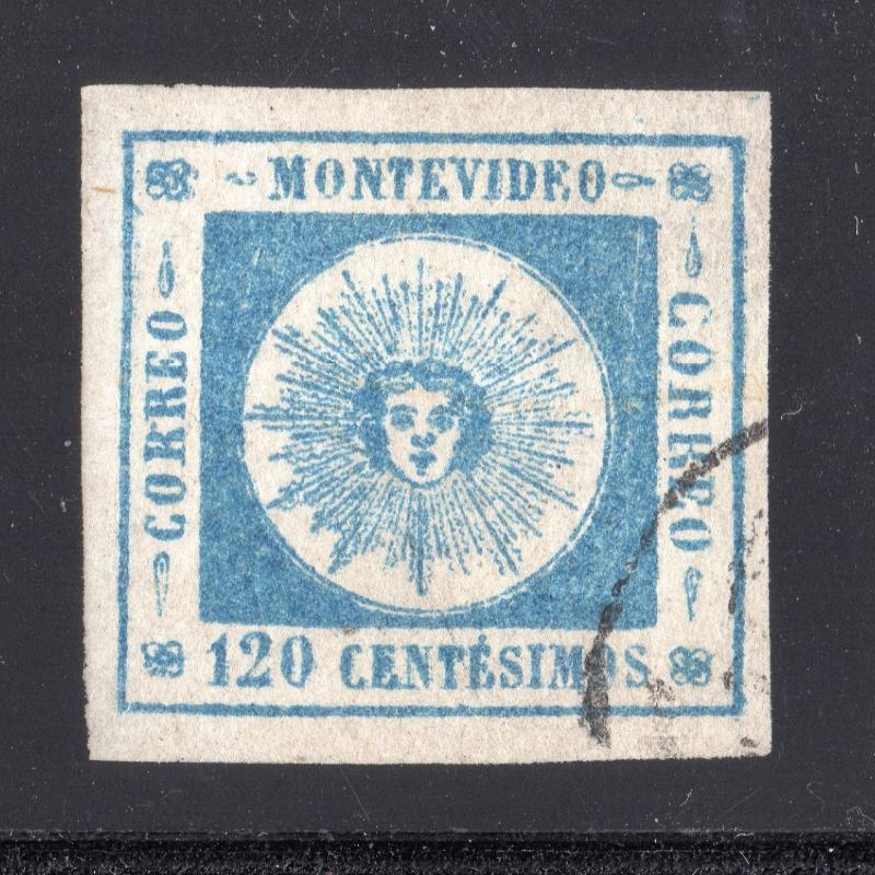 Uruguay classic Sun #10 used VF-XFTHIN PAPER VARIETY  investment in rare stamps