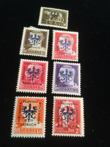 Laibach 1944 German Occupation Stamps 7 Total Stamps