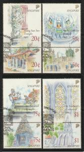 Singapore 1990 National Monument Series setenant in 4 vertical pairs CTO