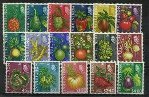 MONTSERRAT 1965 Fruit & Plants Set of 17, Sg 160/176 Lightly M/Mint. {Box 5-16}