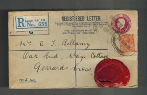 1925 London England Registered Cover Westminster Bank Red Wax Seal to Gerrards