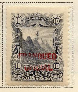 Nicaragua 1893 Early Issue Fine Mint Hinged 10P. Official Optd 323726