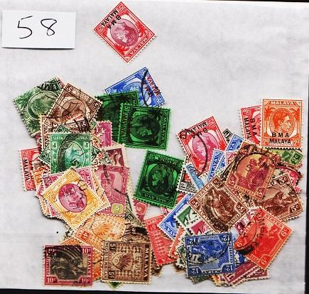 Malay States. Mixture. 168 stamps. Duplication.Fine Used