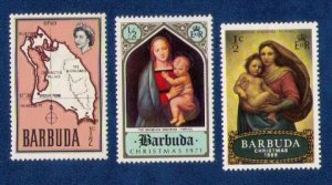 Barbuda Sc 12 Map of Island MH with others Very Fine 3 Stamps Total.