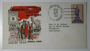 HAPEX Centennial Philatelic Exhibition Honolulu HI 1951 Sc#799 Cachet Cover