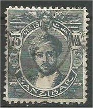 ZANZIBAR, 1913, used 75c, with Serifs Harub Scott 128