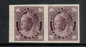 Canada #73a Very Fine Mint Lightly Hinged Imperf Pair - Tiny Translucency