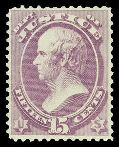 Scott O31 1873 15c Justice Department Official Unused F-VF NG Cat $220