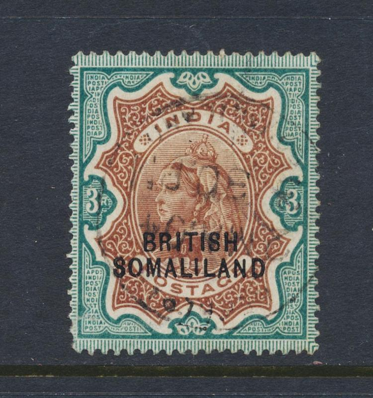 SOMALILAND PROTECTORATE 1903, 3Rs (SIGNED) VF USED SG#23 (SEE BELOW)