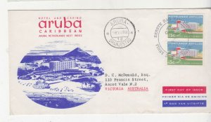SURINAME, 1959 Aruba Caribbean Hotel 15c. (2) on Illustrated First day cover.