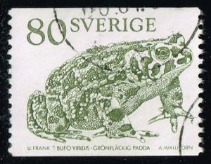 Sweden #1297 Green Spotted Toad; Used (0.55)