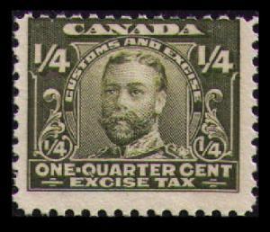 CANADA REVENUE VINTAGE 1915 ¼c #FX1 MNH SCARCE FRACTIONAL EXCISE TAX CV $1.50