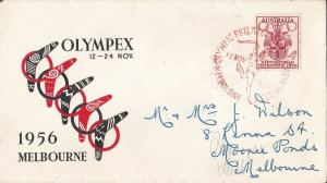 AFD1501) Australia 1958 FDC -CELEBRATING THE 16TH OLYMPIC GAMES MELBOURNE 1956