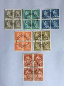 Denmark x6 blocks of 4. Used unhinged. Lot H