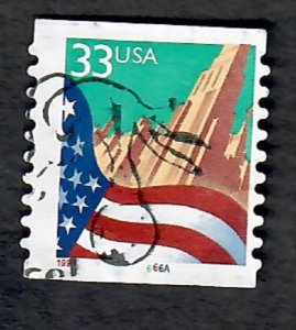 US #3281 Flag over City Used PNC Single plate #6666A