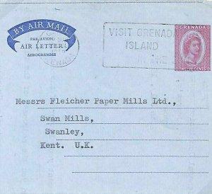 GRENADA QEII Stationery Air Letter SLOGAN GB Kent 1959 {samwells-covers}GU48