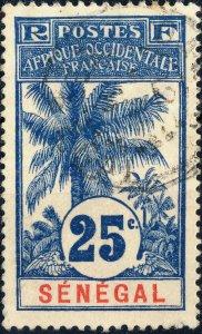 SÉNÉGAL - 1906 - 25c Bleu/Chamois Palmiers Yv.37