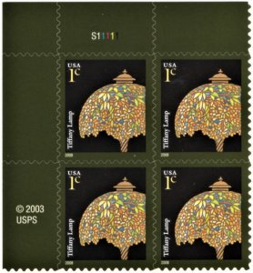 US 3749 MNH VF 1 Cent Tiffany Lamp S/A Plateblock of 4