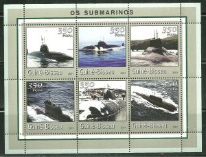 Guinea-Bissau MNH S/S Submarines 2001 6 Stamps