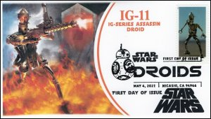 21-098, 2021,Star Wars Droids, IG-11, First Day Cover, B/W Pictorial Postmark,