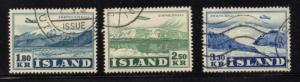 Iceland Sc C27-9 1952 airmail stamp set used