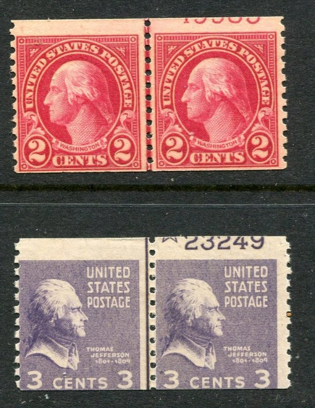 US #599 EFO #842 EFO Coil line pairs (Partial plate number) Mint ognh