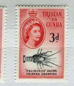 TRISTAN DA CUNHA; 1950s early QEII issue fine Mint hinged 3d. value