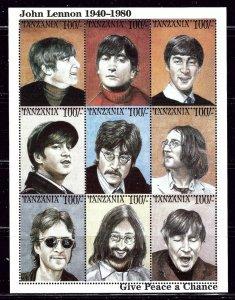 Tanzania 1335 MNH 1995 John Lennon Sheet of 9    (ap2786)