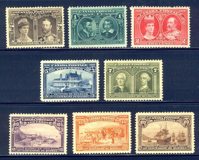 CANADA #96-103 Mint - 1908 Tercentenary Set