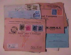 YUGOSLAVIA 15 REGISTERED SMALL COVERS  1920's-1940's MOSTLY TO USA