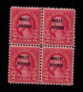 US SCOTT #646 OVERPRINTED MOLLY PITCHER BLOCK MNH.OG F-VF