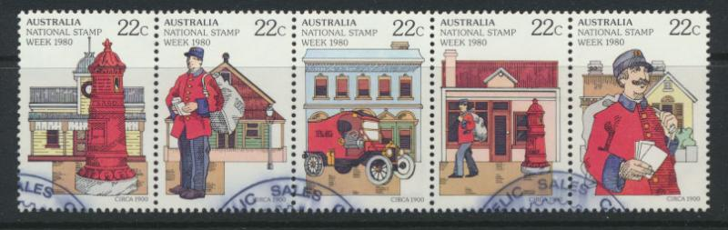 National Stamp Week  SG 752a  SC# 755b Used strip of 5