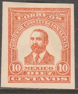 MEXICO 10¢ 1914 MADERO ESSAY, RED ORANGE IMPERF. NEVER ISSUED. H OG. VF..(1138)