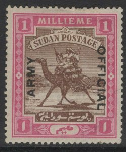 SUDAN SGA4 1905 1m BROWN & PINK MTD MINT