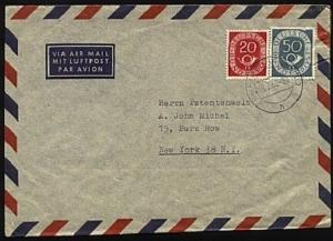 GERMANY 1953 20pf & 50pf Posthorns on cover Frankfurt to USA..............20062