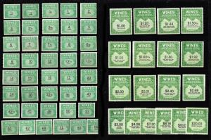 GENUINE SCOTT #RE108 // 162 MINT NGAI NH SET OF 54 WINE STAMPS - DEALER CLOSEOUT