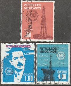 MEXICO 1161, C556-C557, 40th Anniv Nationalization of Oil Industry USED VF (814)