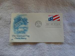 1990 US FDC THE AMERICAN FLAG PLACTIC STAMP